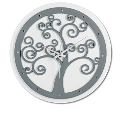 Orologio da Parete Moderno Rotondo Albero della Vita Legno MDF Grigio Scuro  ø35 Amazon.it Casa e cucina