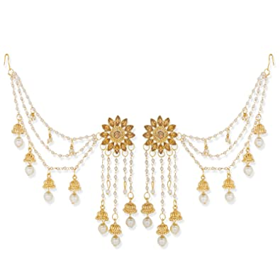 b83c3e15c Buy Aadita Fashion Jewellery White Gold-Plated Earrings With Hair Chain for  Women Online at Low Prices in India   Amazon Jewellery Store - Amazon.in