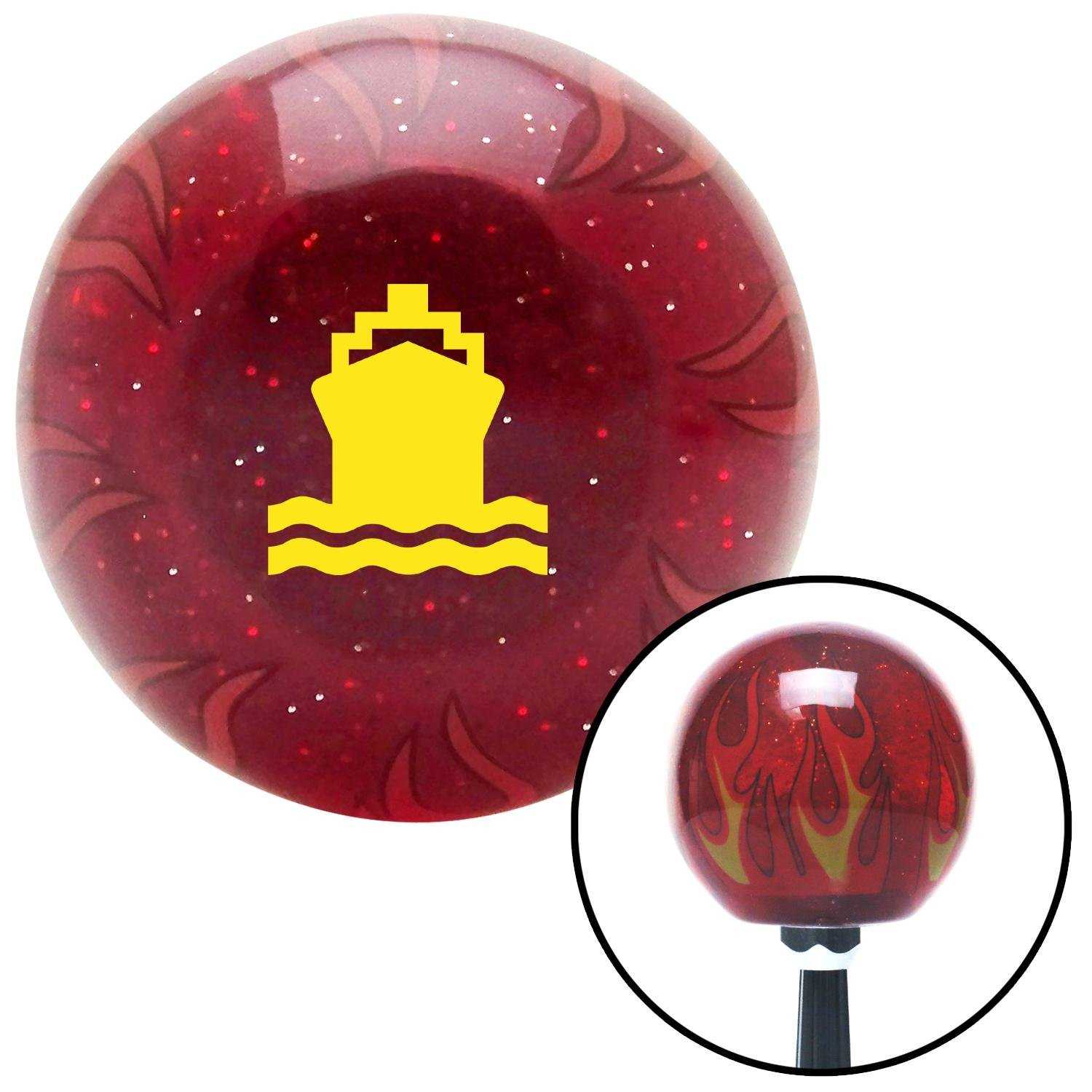 American Shifter 241031 Red Flame Metal Flake Shift Knob with M16 x 1.5 Insert Yellow Marine Ship