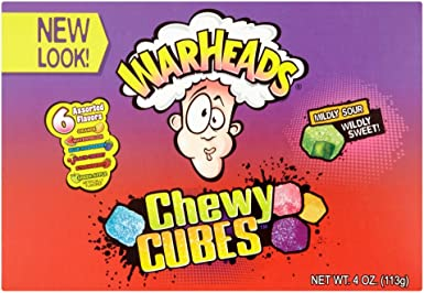 Warheads Sour Chewy Cubes Sour Gummy Candy, 4-OunceTheatre Size Boxes (Pack of 12): Amazon.es: Alimentación y bebidas