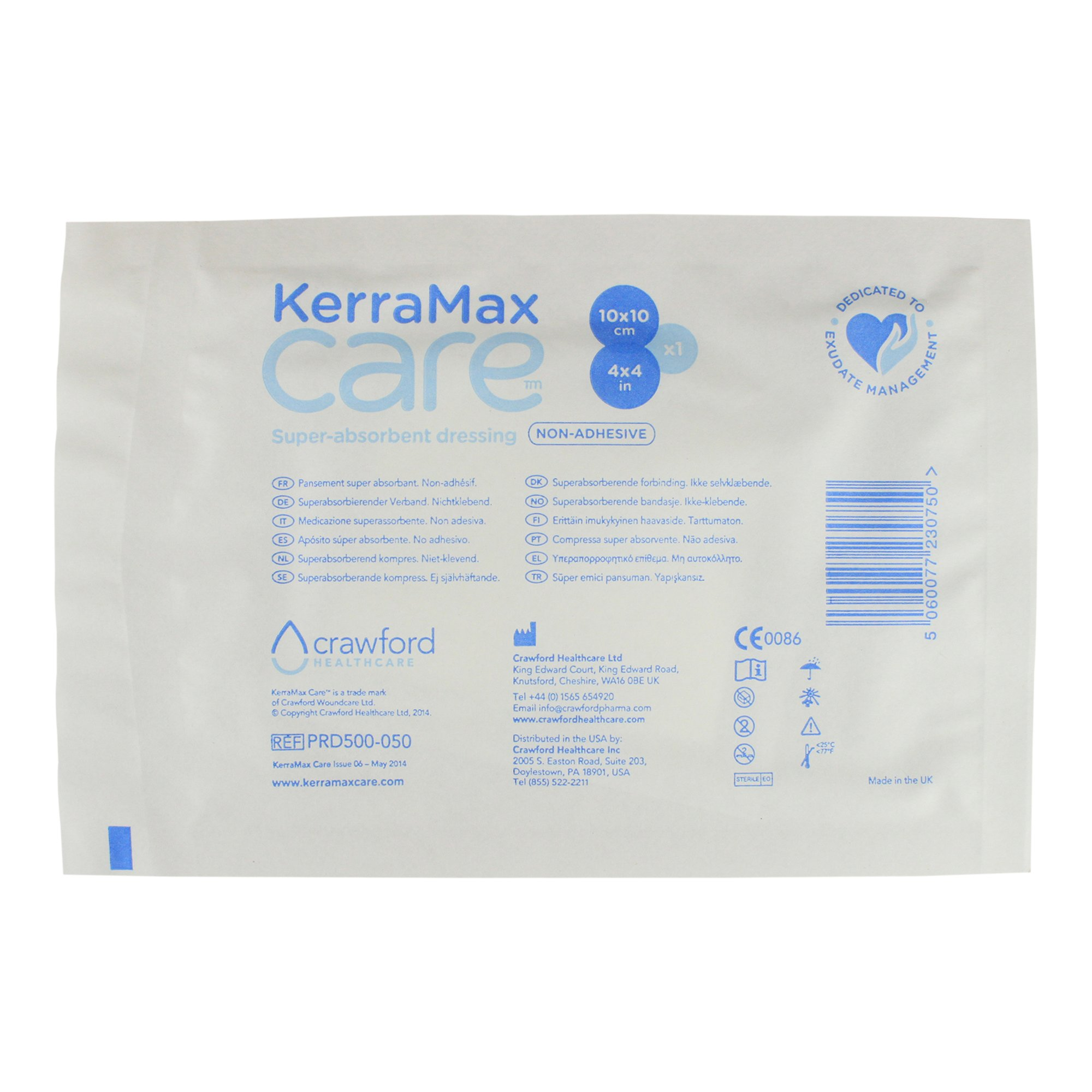 KerraMax Care 4''x4'' Super Absorbent Wound Dressing (PRD500-050) – Absorbs Exudate and Isolates it, Preventing Leaks or Drips for Improved Patient Comfort and Wound Care Treatment (1 Each)