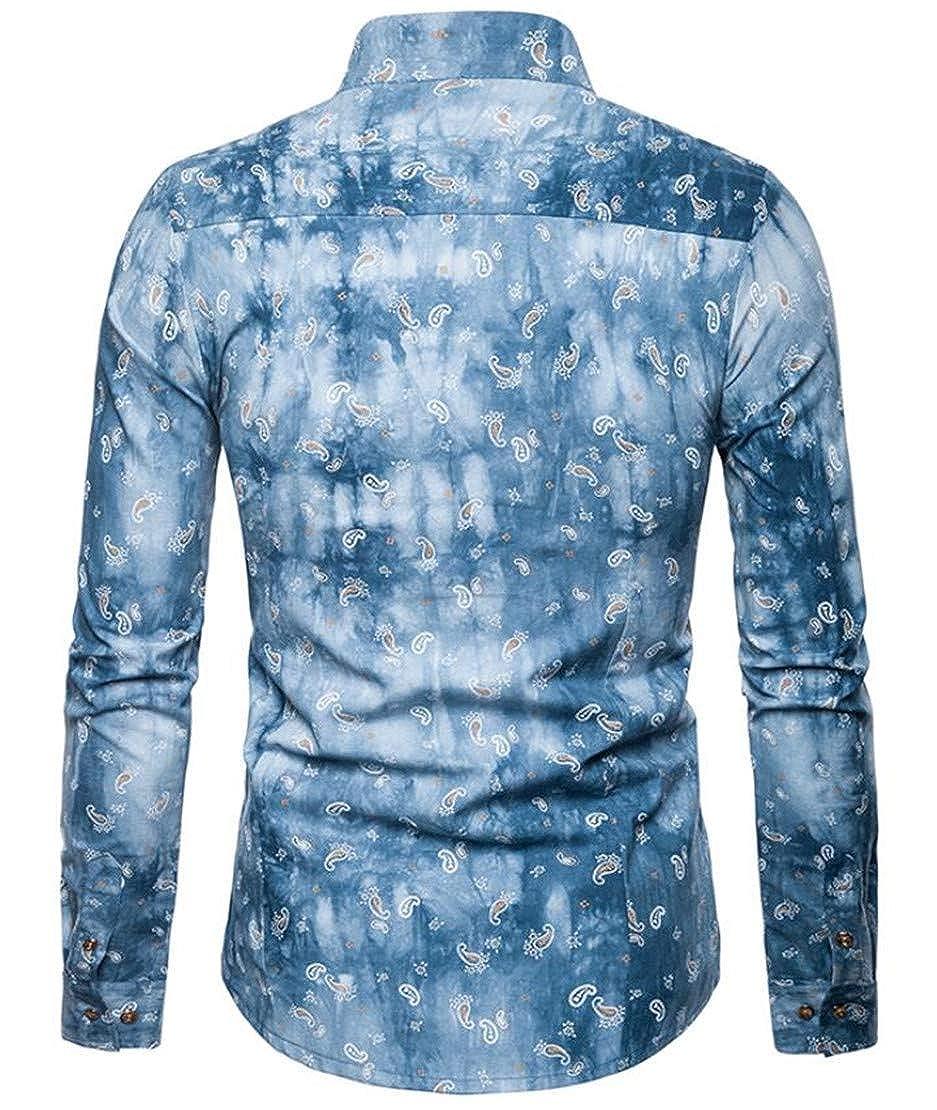 Zantt Mens Long Sleeve Tie-Dyed Button up Irregular Stylish Stand Collar Shirts