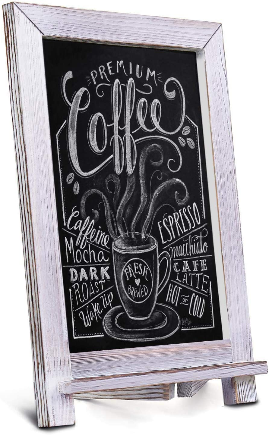 "Vsadey Chalkboard Sign 15"" X 12"" Rustic Chalkboard Easel Tabletop Chalk Board with Magnetic Surface and Hanging Hook Wooden Frame, Compatible with Liquid Chalk Markers for Wedding, Kitchen, Bar, Cafe"