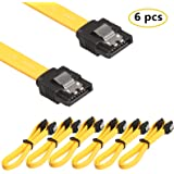 RELPER-LiNESO 6 Pack 18 Inches SATA III 6.0 Gbps Data Cable with Locking Latch (Yellow)