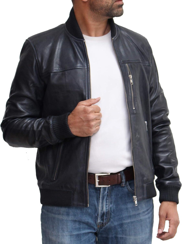 A to Z Leather Bomber Letterman Varsity Letterman Stile Anni 70 da Uomo. Disponibile in Nero, Marrone e Blu Marina Militare