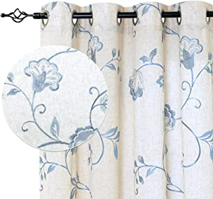 "jinchan Linen Textured Curtains for Living Room Long Embroidered Design Window Curtains Privacy Flax Linen Look Window Treatment Set for Bedroom Grommet Top 2 Panels 72"" Blue"