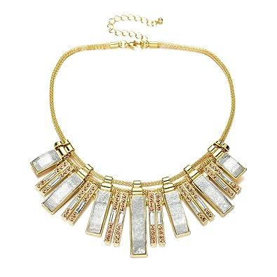 a4c0441c36f Vintage Plaque Or Chaine bijoux fantaisie femme cristal colliers statement  (Bleu collier fantaisie)