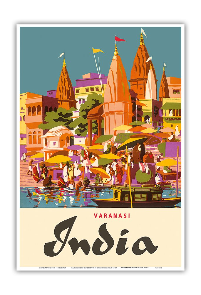 Varanasi India - Ganges River - (Banares, Banaras, Kashi) in Uttar Pradesh - Manikarnika Burning Ghat - Vintage World Travel Poster by Charles Baskerville c.1959 - Master Art Print - 13in x 19in