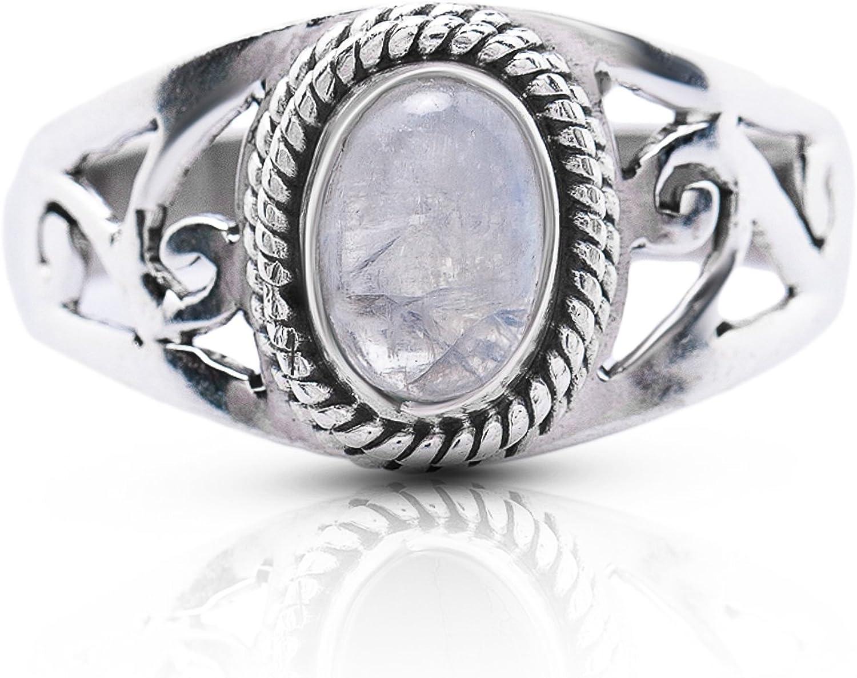 Size 7 Vintage 925 Sterling Silver /& Black Stone Ring