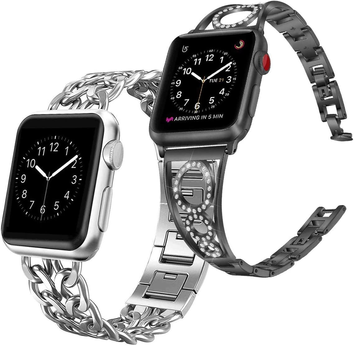 AmzAokay Replacement bands Compatible for Apple Watch 38mm 42mm Cowboy Chain Band Silver & Compatible Apple Watch Steel Band 38mm