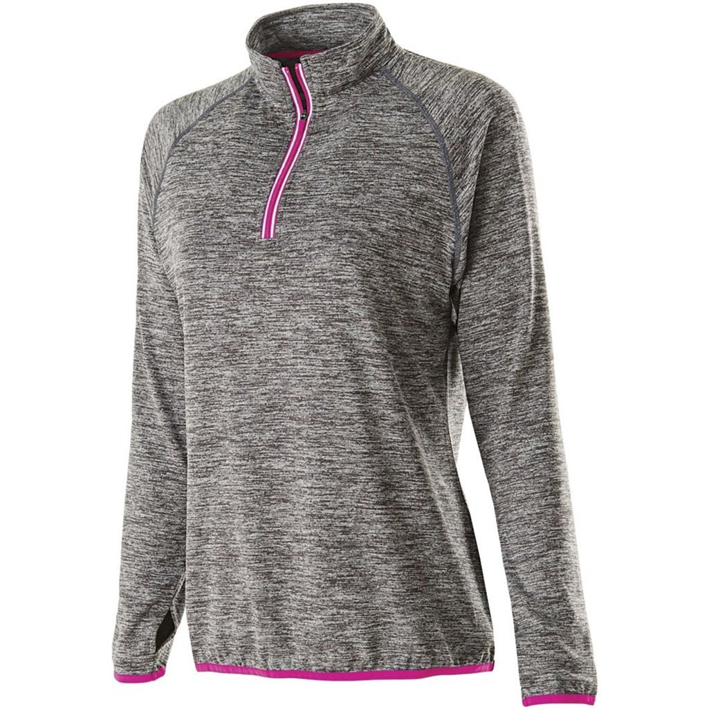 Holloway Ladies Force Training Top (X-Small, Carbon Heather/Power Pink) by Holloway