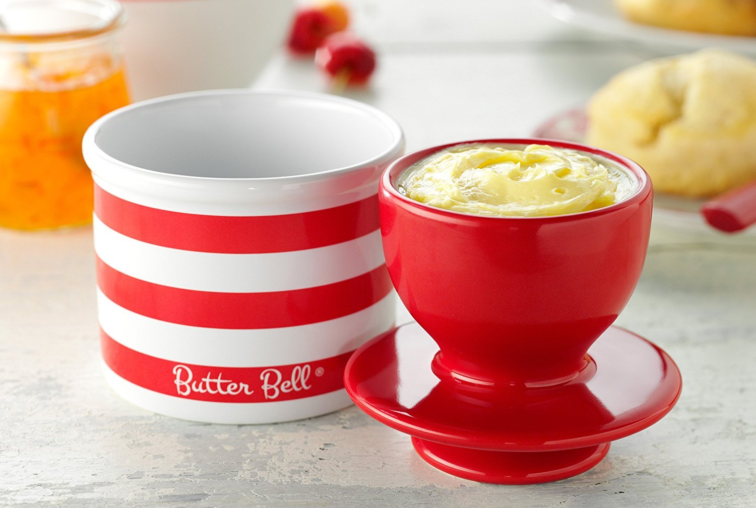 Striped Collection The Original Butter Bell Crock by L Candy Apple Red Tremain