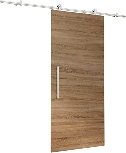 Puerta Corredera de madera de roble salvaje Juego completo con puerta corredera de Herraje 900 X 2065 mm puerta de madera & abierto Carril Sistema de puerta corredera: Amazon.es: Hogar