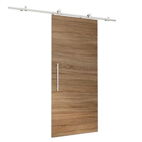 Porta scorrevole di legno di rovere, set completo con porta ...