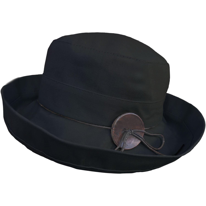 83102656bc8 TOSKATOK® UPF 50+ Ladies Cotton Linen Blend Cloche Summer Sun Hat-Black   Amazon.co.uk  Clothing