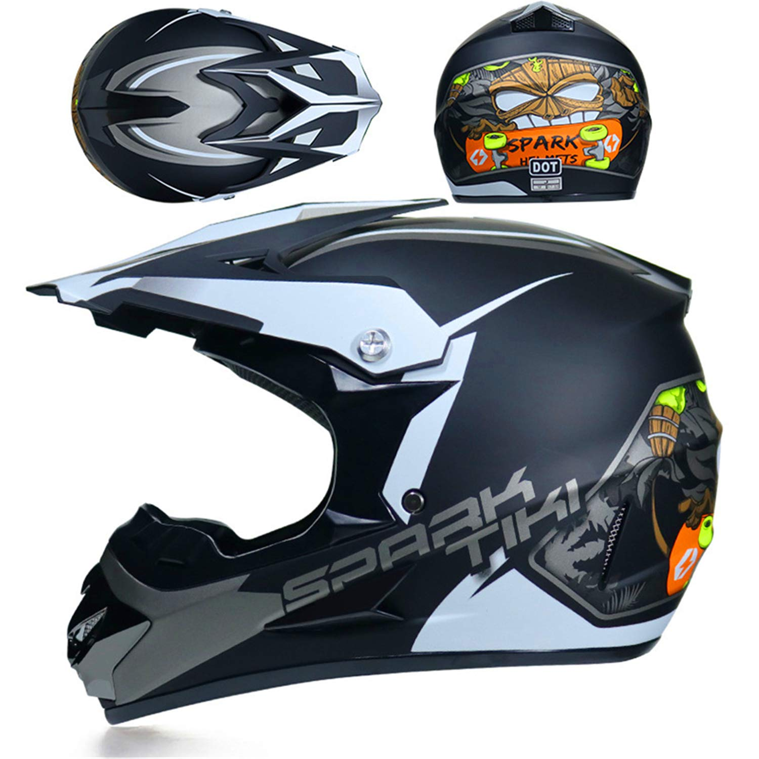 for Adult Youth Junior Children Kids with Goggles Gloves Mask Motocross Helmet BMX Dh Racing Helmet Capacetes Motocross helmet spares 57~58cm , Black yellow L