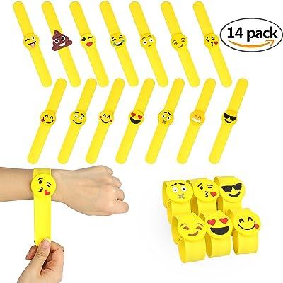 14 pcs Slap Bracelet Silicone Emoji Bracelets Claquer en Caoutchouc Fournitures de Fête Party Mariage Cadeaux Jouets Fantaisie pour Récompenses de Classe d'Ecole