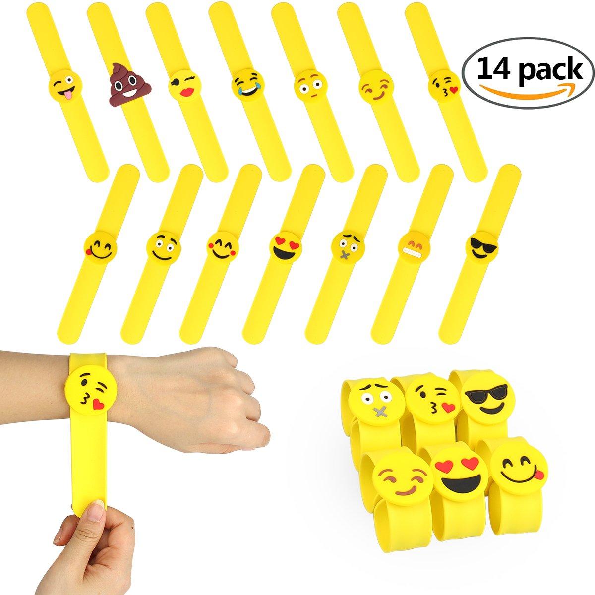 14 pcs Slap Bracelet Silicone Emoji Bracelets Claquer en Caoutchouc Fournitures de Fête Party Mariage Cadeaux Jouets Fantaisie pour Récompenses de Classe d'Ecole CDKJ