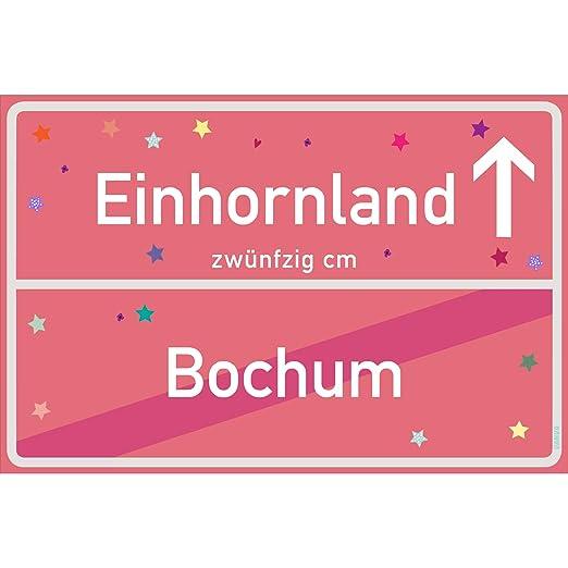 vanva Cartel de Unicornio Texto en alemán, Color Rosa ...