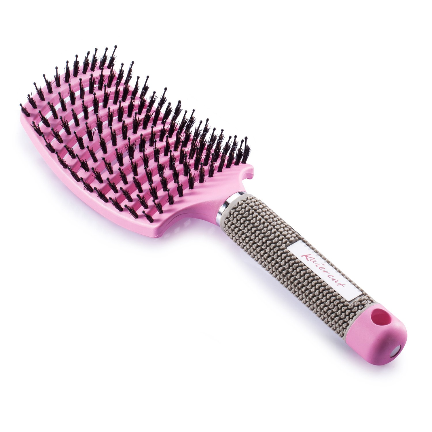 Kaiercat Boar Bristle Brush for Detangling Thick Hair - Pink