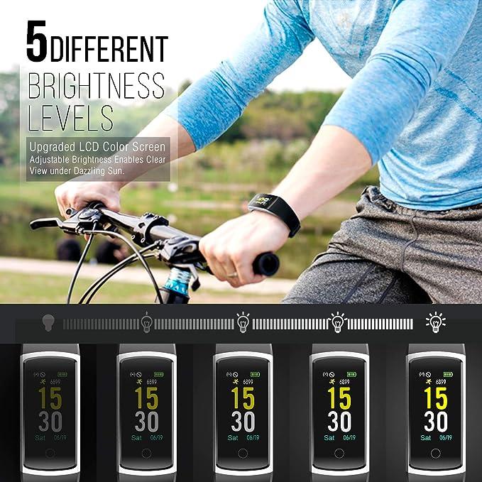FITFORT Fitness Fitness Tracker HR - Reloj de Pulsera con Monitor ...