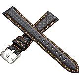 EMPIRE® イタリアンレザー カーボン 時計 ベルト (ブラック×オレンジ, 22mm)