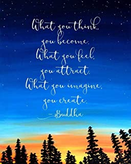 Amazon urban decal buddhism watercolor print what you think what you think you become buddha quote inspirational wall art print 8x10 inch mightylinksfo