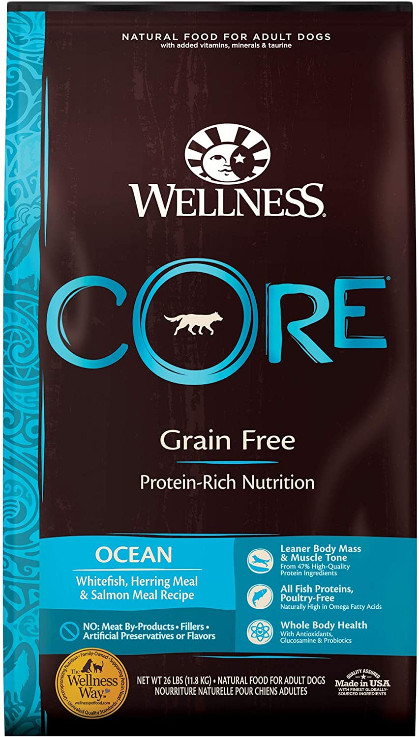 Wellness CORE High Protein Grain Free Natural Adult Dry Dog Food, Whitefish