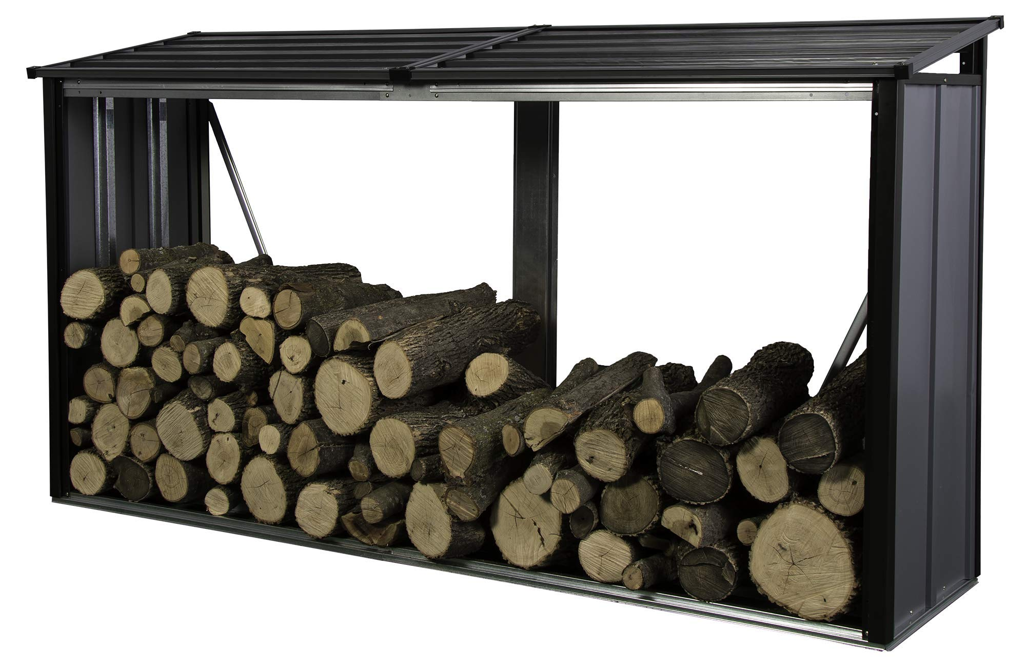 Arrow Compact Galvanized Steel Metal Firewood Rack, Anthracite by Arrow