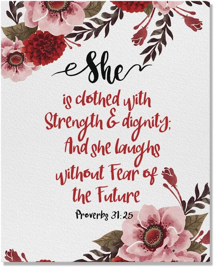 Wayfare Art Proverbs 31:25 Flower Canvas Prints Artwork Wall Art Poster for Home Office Living Room Decorations 8 x 10 inch