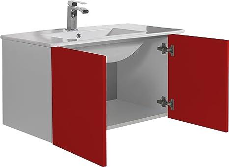 Aleghe Eris Mueble de baño, Madera, Rojo Brillo, 80.00x45.00x45.00 cm: Amazon.es: Hogar