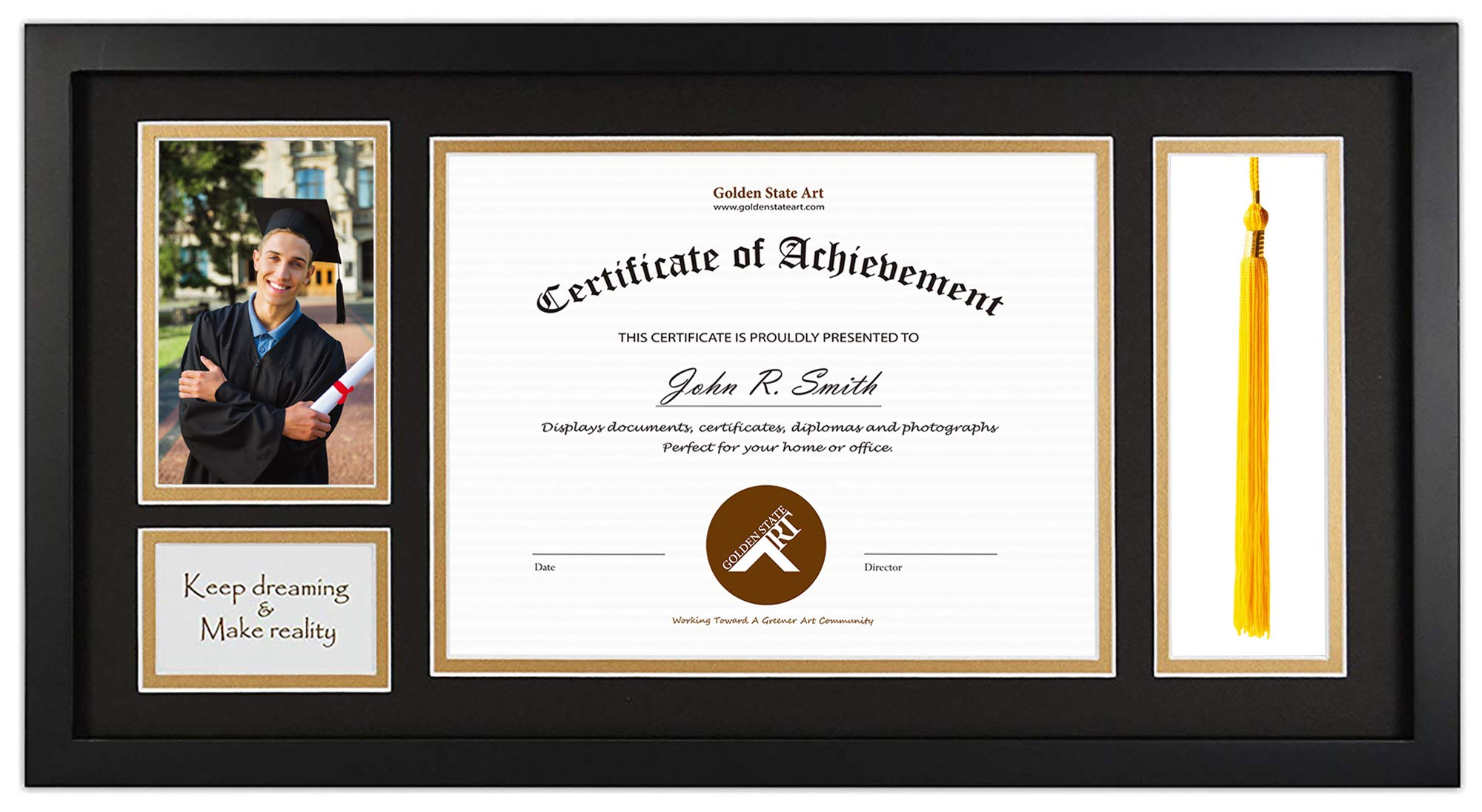 Golden State Art, Diploma Tassel Shadow Box 11x22 Frame for 8.5x11 Document/Certificate & 4x6 Photo, with Double Mat (Black Over Gold), Tassel Holder & Real Glass, Black by Golden State Art