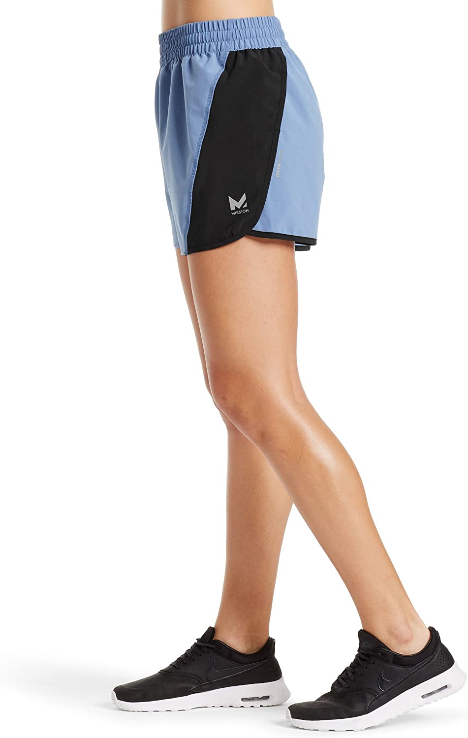 Mission Womens VaporActive Ion 4 Training Shorts Small Mission Athlete Care MISSP17W007 Iron Gate//Cherry Tomato