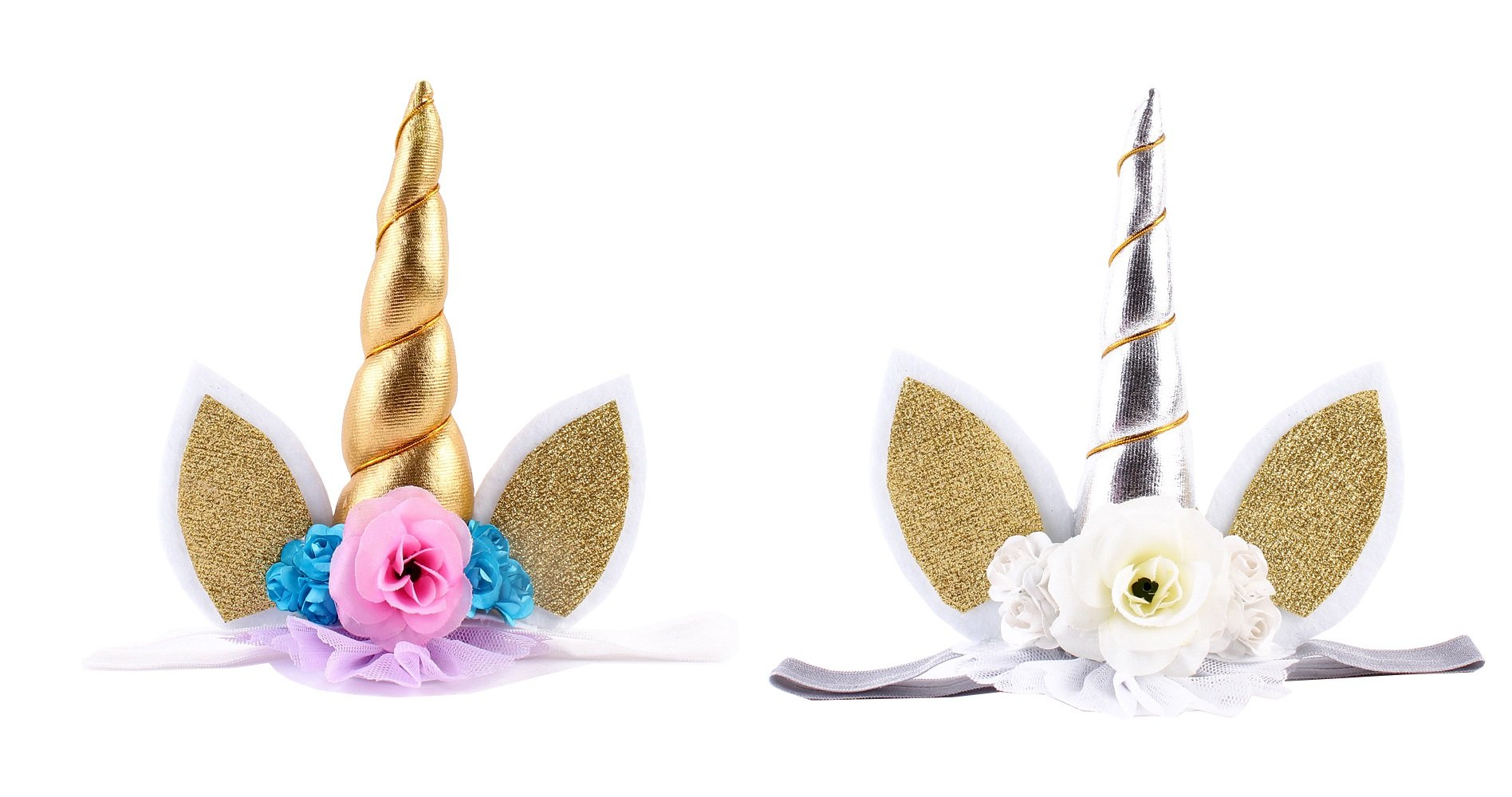 Junliyuan 2-Pack Cute Animal Princess Flower Headbands with Glitter Unicorn Crown for Halloween/Christmas/Birthday Party (Gold + Silver)