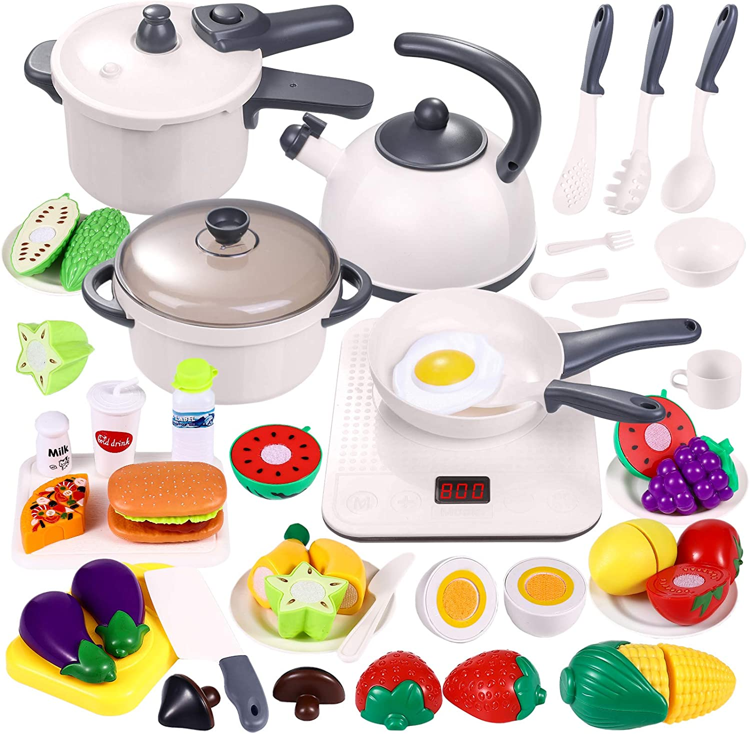46PCS Play Kitchen Set for Kids - Cooking Set with Electronic Induction Cooktop, Pots and Pans Playset, Cutting Play Food and Utensils Accessories - Pretend Play Kitchen Toys for Toddlers Baby Girls