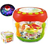 MousePotato Aquarium Shaped Flash Drum Rotating 3D Lights & Fishes with Music, Songs and Learn English