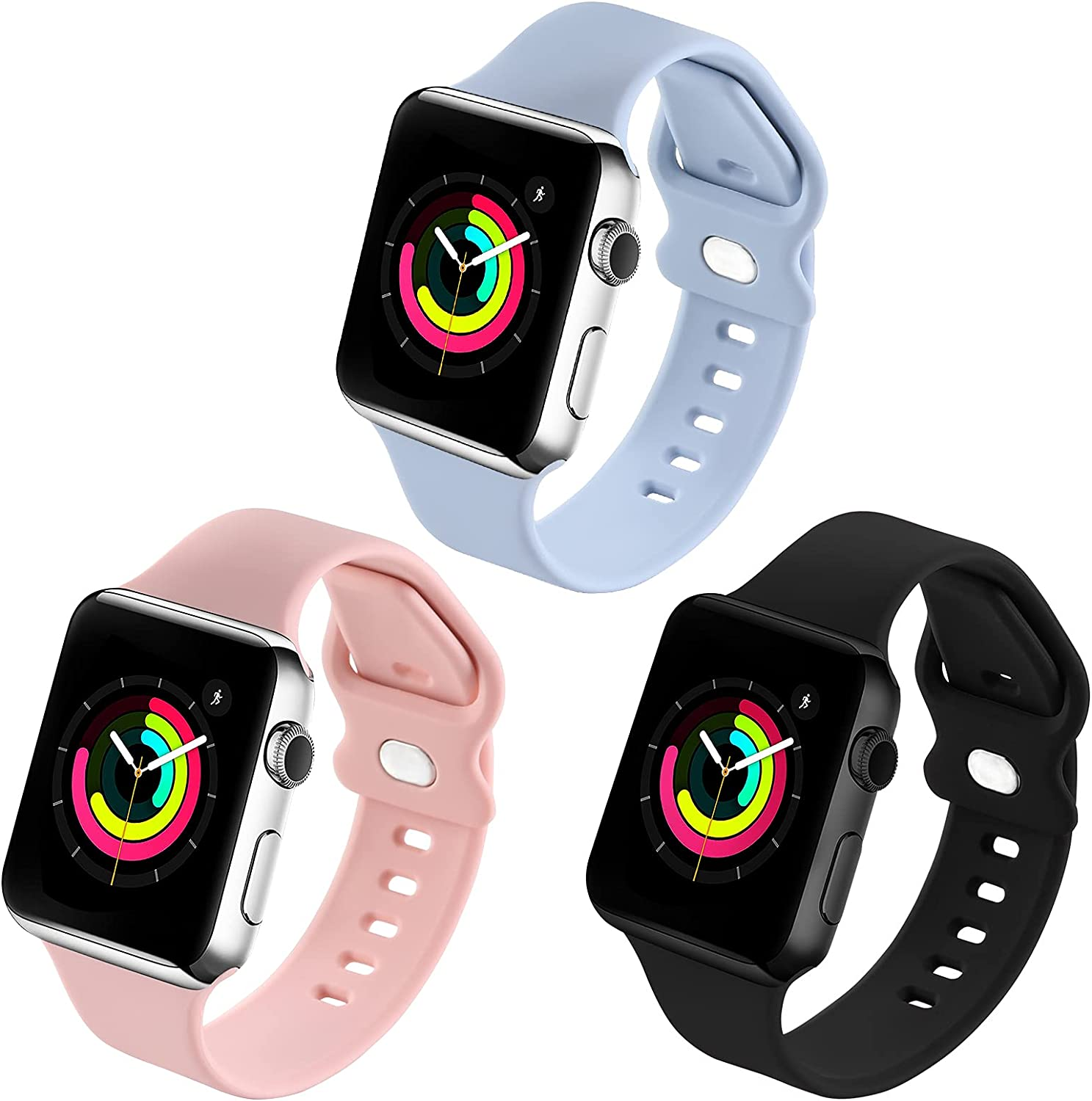 Sport Wristbands Compatible with Apple Watch Bands 38mm 40mm for Women Girls Men,3 Pack Soft Silicone Replacement Wristband for iWatch Series 6 5 4 3 2 1 SE Strap