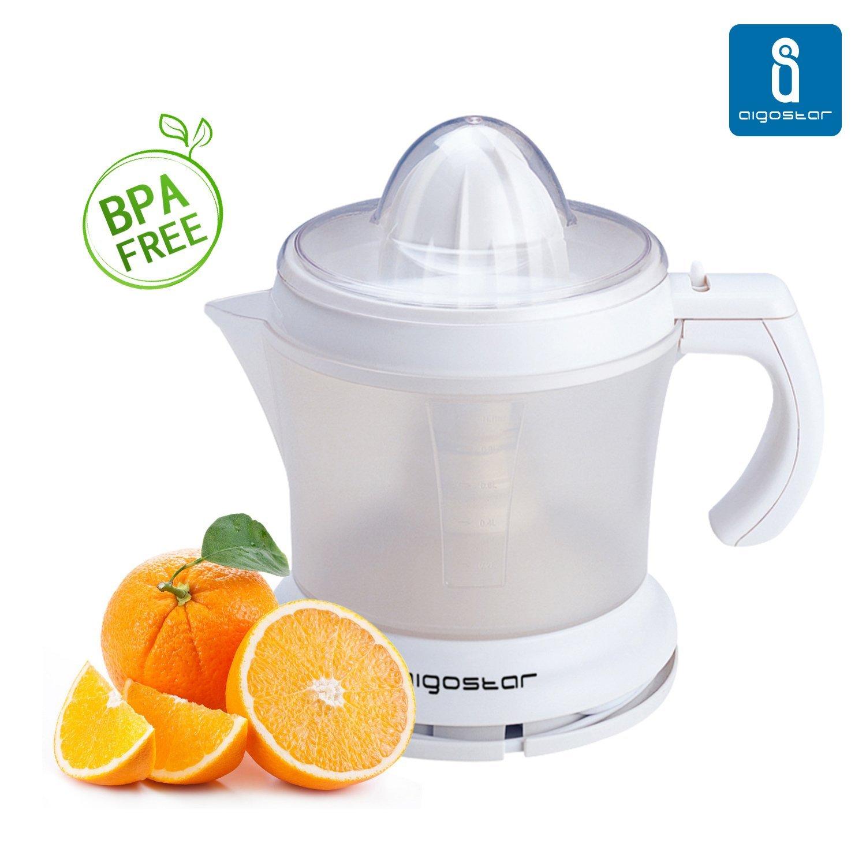 Aigostar Morgen 30HIM - Exprimidor de zumo. Libre de BPA. Color Blanco. Potencia de 30 watios. Capacidad de 1 litro.