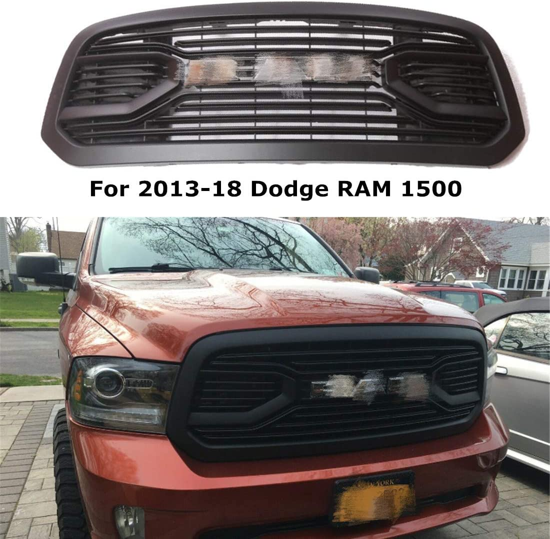 W//Black Letters Jie Norman Front Grill for Dodge RAM 1500 2013-2018 Upper Bumper Grille Matte Black Big Horn Horizontal Style