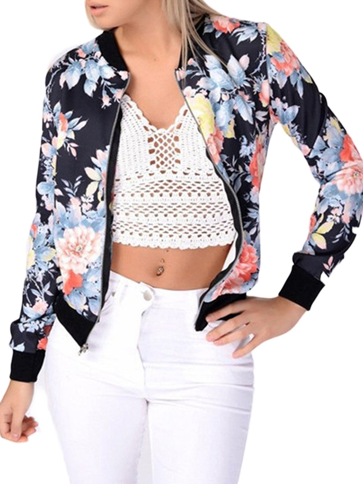 MISSLOOK Women's Floral Print Classic Quilted Baseball Jacket Fall Short Biker Bomber Jacket Coat - Multicolor L