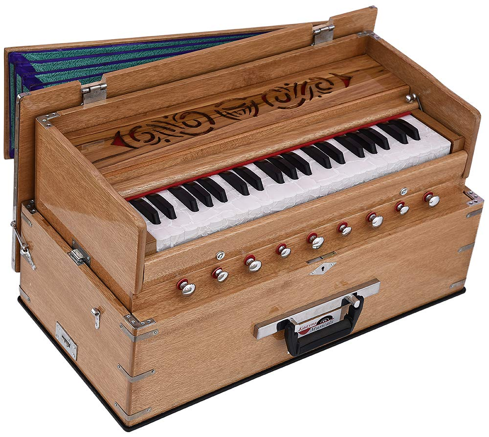 Safri Harmonium- 3½ Octave By Kaayna Musicals-Portable, Traveler, Baja, 9 Stops (4 Drone), Two Set Reed- Bass/Male, Teak Color, Gig Bag, Tuning: 440 Hz, Suitable for Yoga, Bhajan, Kirtan, Mantra, etc by Kaayna Musicals