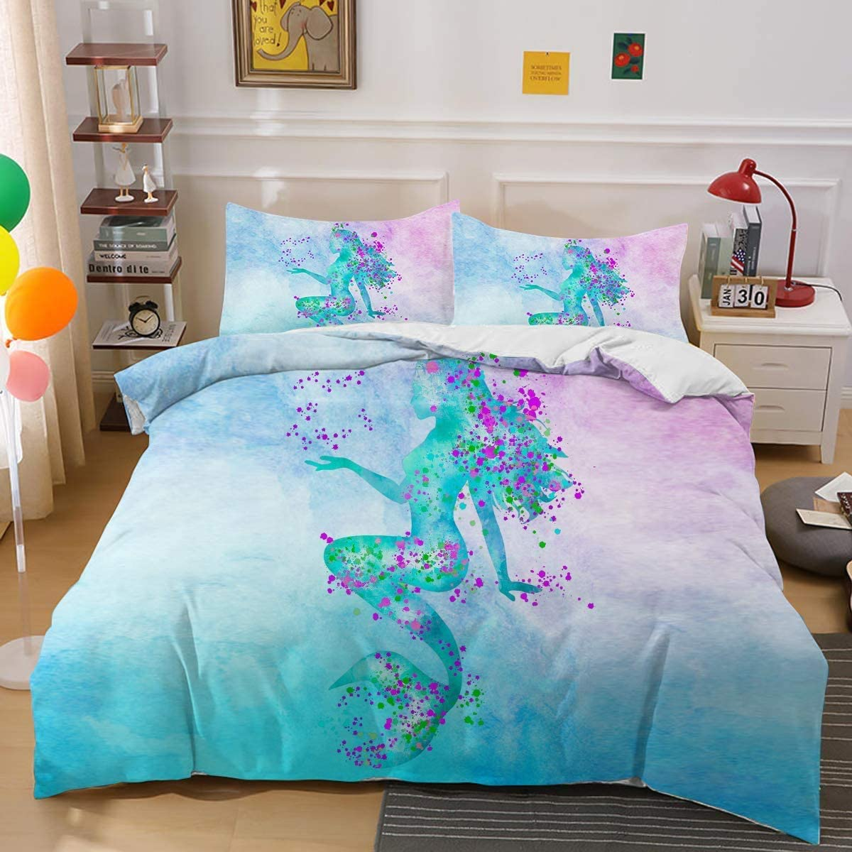 Digital Printed Comforter Cover for Boys and Girls 86x70 in Teens OWL QUEEN Sea Turtle Colorful Bedding Cover Cute Ocean Animal Children Duvet Cover Kids 3 Pieces 100/% Microfiber