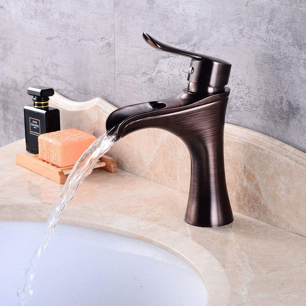 DOJOF Bathroom Sink Mixer Tap Hot and Cold Water Waterfall Taps for Bathroom Sink