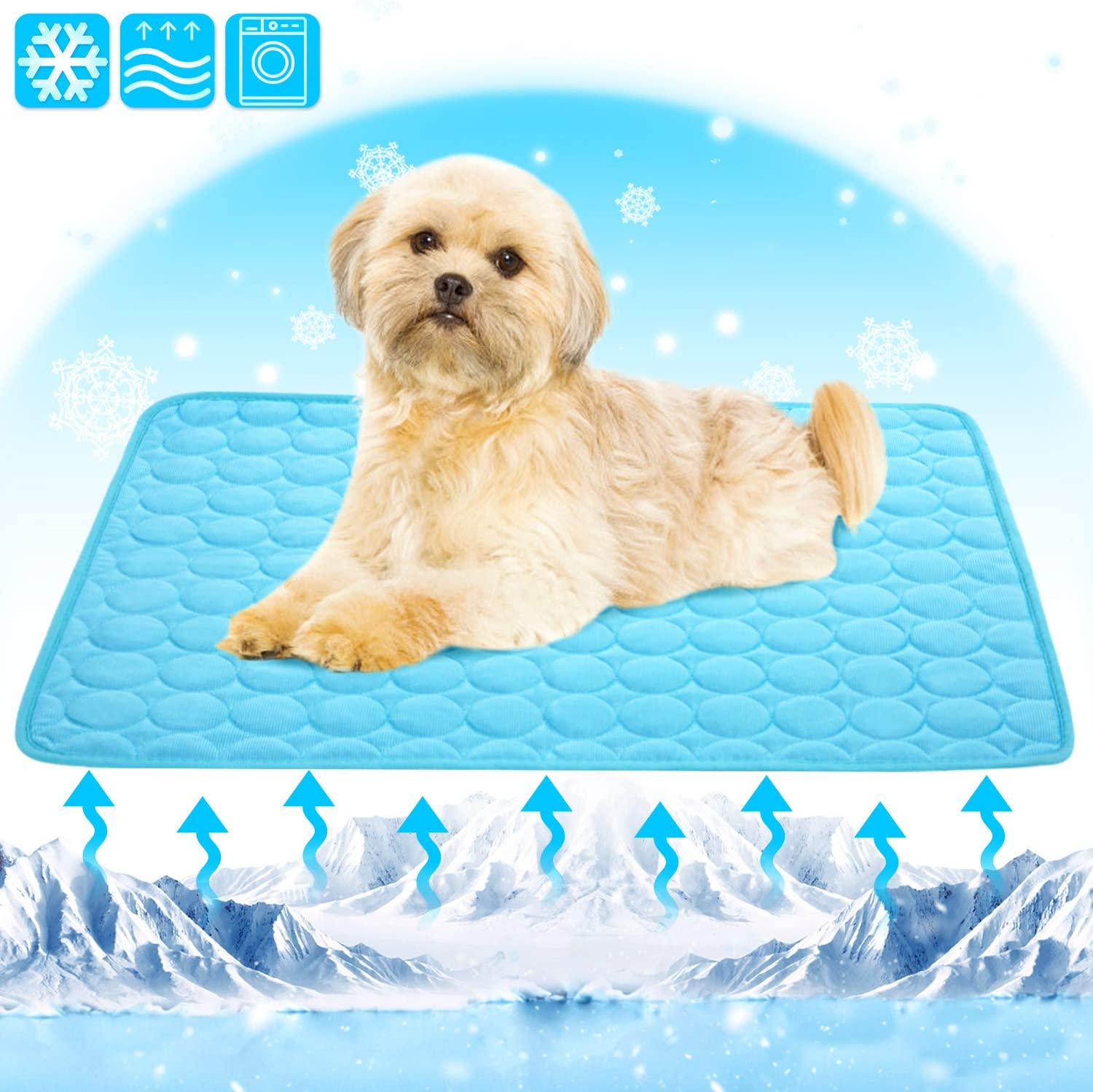 AOFITEE Dog Cooling Mat, Pet Self Cooling Pad for Large Dogs, Washable Breathable Ice Silk Cooling Blanket Sleep Cushion for Kennel, Crate, Dog Cat Bed, Avoid Overheating