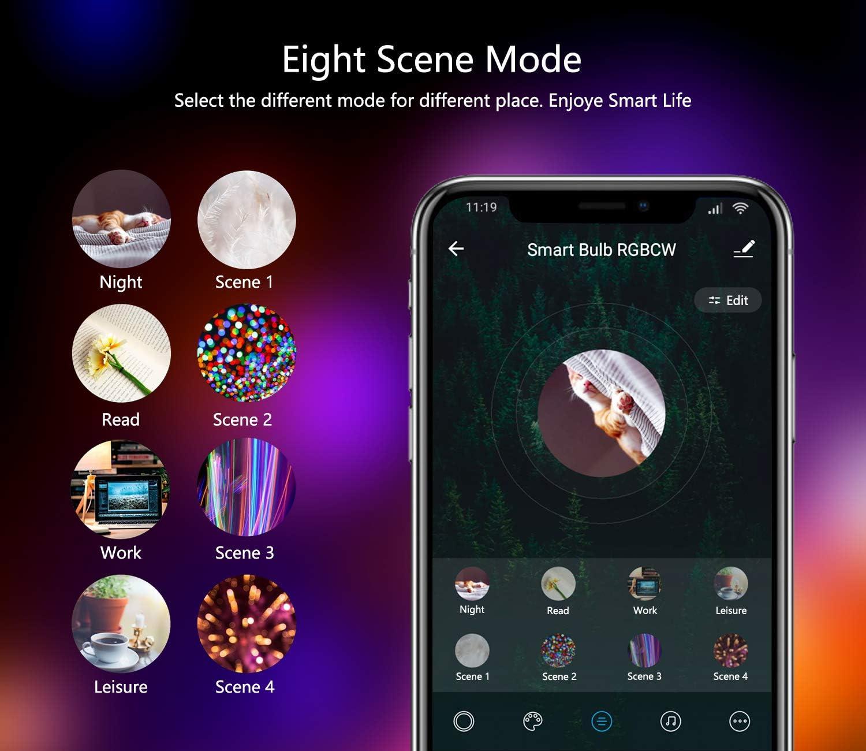 9W 1000LM Ampoule Connectee Alexa//Echo//Google Home Classe /énerg/étique A++ A19 90W Equivalente RGBCW couleur changement Lumi/ère 2 Pack Ampoule Intelligente Wifi Led Smart Bulb E27