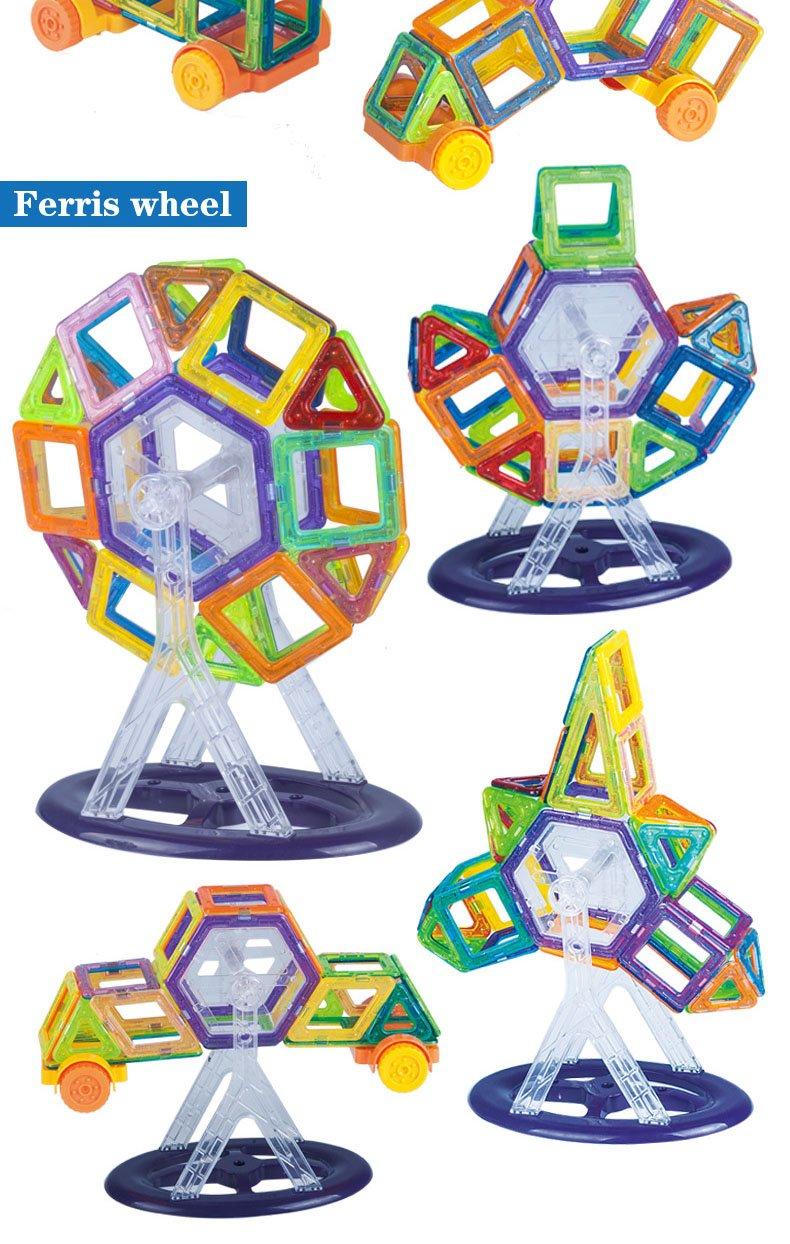 AOOM Magnetic Building Blocks Set | 126 PCS Creative Magnetic Building Blocks Set, Magnetic Tiles STEM Preschool Educational Construction Kit (126)