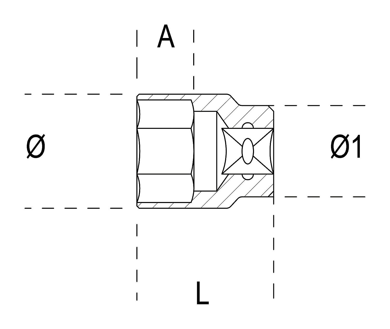 Beta 009100285-910A-As 19//32-Ll De Vaso De Mano Hexagon