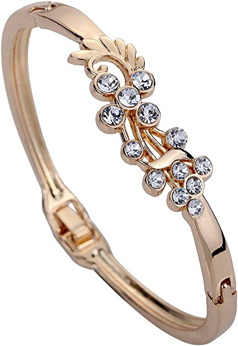 DVANIS Jewelry Grace Rose Gold Hollow Peacock Wing Shining Crystal Charming Bangle Bracelet 2.2