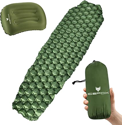 Inflatble Sleeping Pad with Pillow Ultralight Travel Air Mattress Camp Tent Mat