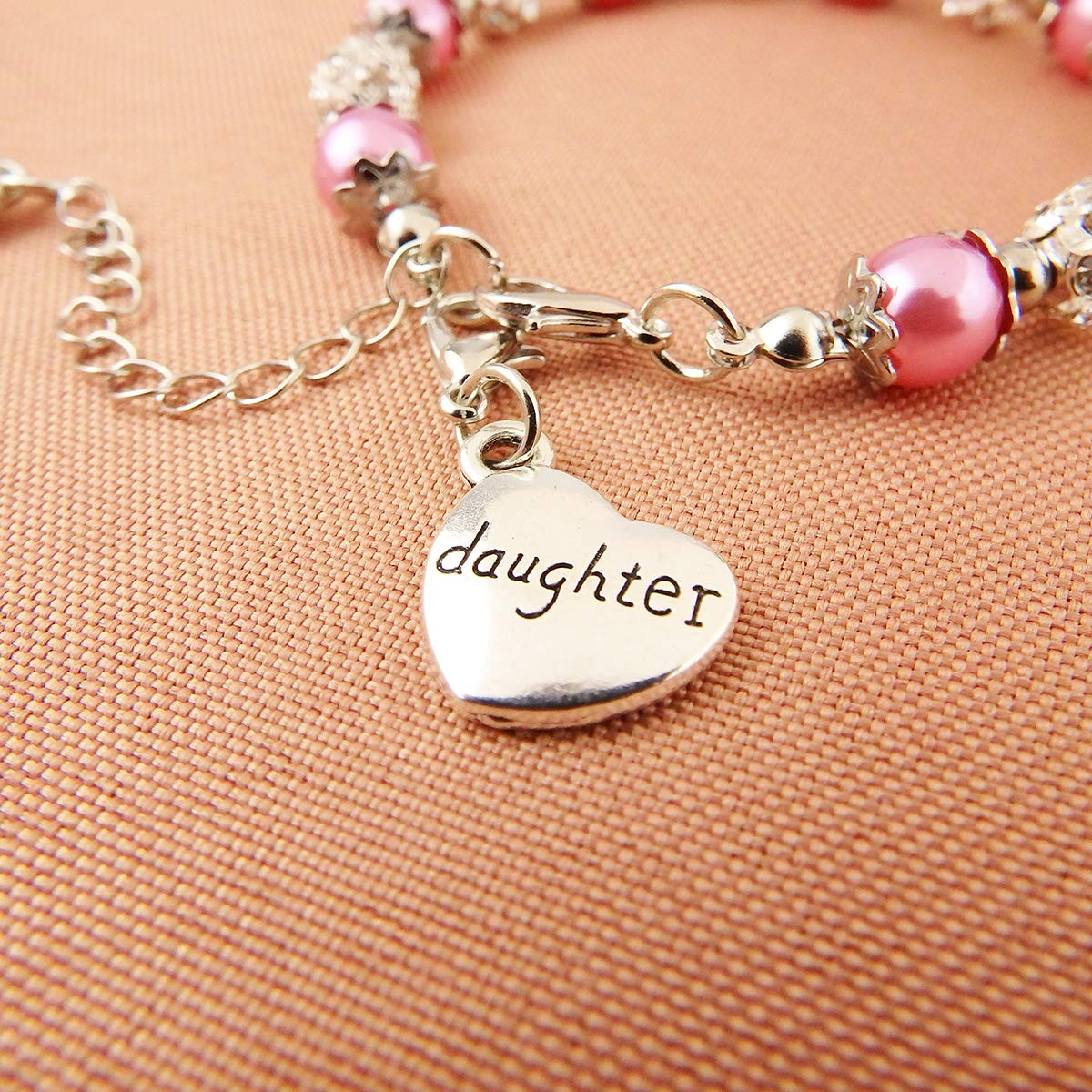 Burning Love Daughter Bracelet Pink Beads Balls Crystal Faux Pearls Charms Wrist Little Girls Jewelry for Girls Birthday Gift
